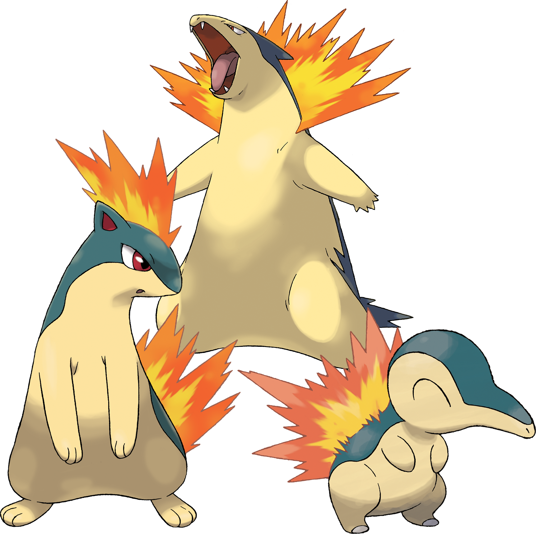 Cyndaquil, Quilava, and Typhlosion