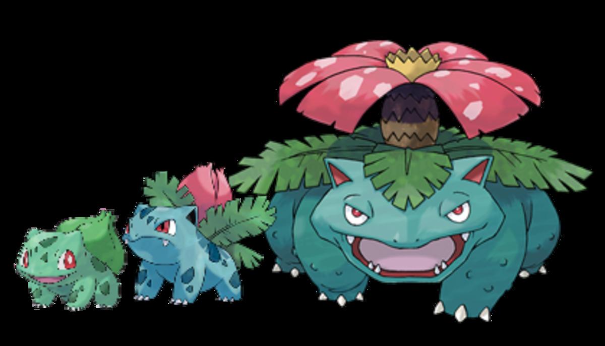 Bulbasaur, Ivysaur, and Venusaur